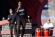 Photo of Usher and Ruben Blades performing live on stage at Global Citizen Festival in Central Park, NYC on September 24, 2016. © Matthew Eisman. All Rights Reserved
