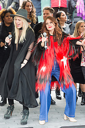 © Licensed to London News Pictures. 05/03/2017. NATASHA BEDINGFIELD and KATE NASH take part in a rally raising awareness of women and girls in third world countries who spend days walking for water. March also marks CARE's annual celebration for International Women's Day. London, UK. Photo credit: Ray Tang/LNP