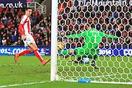 West Ham's Enner Valencia scores to bring it to 2-1  - Stoke City vs. West Ham United - Barclay's Premier League - Britannia Stadium - Stoke - 01/11/2014 Pic Philip Oldham/Sportimage