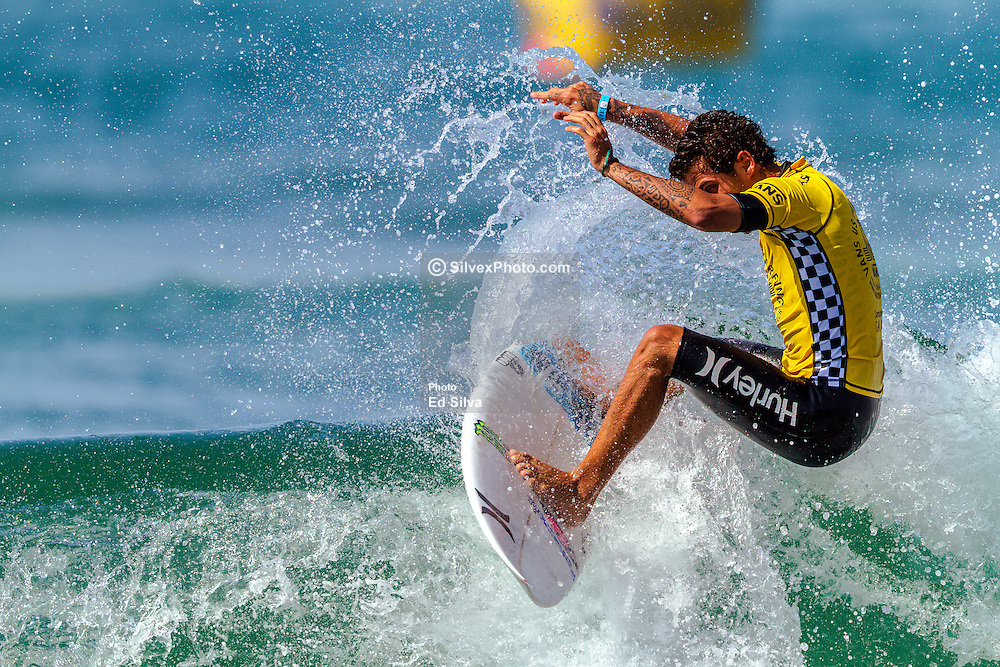HUNTINGTON BEACH, CA - Filipe Toledo (BRA), surfs during Round 4, Heat 6 at the 2014 Vans US Open of Surfing. 2014 Aug 1. Byline, credit, TV usage, web usage or linkback must read SILVEXPHOTO.COM. Failure to byline correctly will incur double the agreed fee. Tel: +1 714 504 6870.