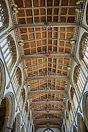 15th century Gothic wooden painted angel roof, restored in 1963, of the Church of St Cuthbert, Wells, Somerset, England .<br /> <br /> Visit our MEDIEVAL PHOTO COLLECTIONS for more   photos  to download or buy as prints https://funkystock.photoshelter.com/gallery-collection/Medieval-Middle-Ages-Historic-Places-Arcaeological-Sites-Pictures-Images-of/C0000B5ZA54_WD0s