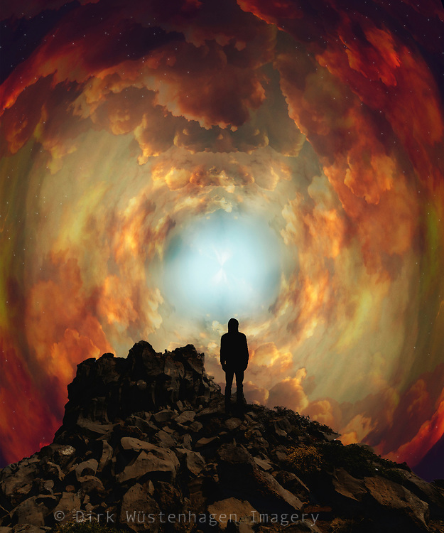 Man standing on a rock in fromt of a giant cloud vortex. Surreal photomanipulation<br /> Available on Redbubble products: https://www.redbubble.com/shop/ap/78503863?ref=studio-promote