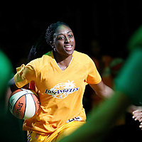 19 June 2014: Los Angeles Sparks forward Nneka Ogwumike (30) is seen during the players introduction prior to the Los Angeles Sparks 87-77 victory over the Tulsa Shock, at the Staples Center, Los Angeles, California, USA.