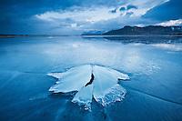 Ice formation of frozen coast of Ytterpollen, Lofoten Islands, Norway