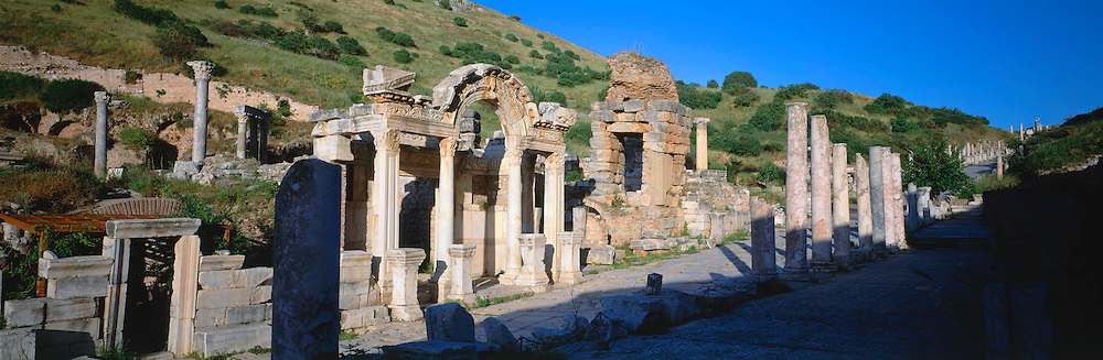TURKEY, ROMAN CULTURE EPHESUS; view up Curetes Way past  Hadrian's Temple, built in 138AD; in the best preserved Roman city