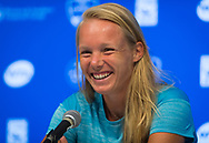 Kiki Bertens of the Netherlands talks to the media after winning her semi-final at the 2018 Western and Southern Open WTA Premier 5 tennis tournament, Cincinnati, Ohio, USA, on August 18th 2018, Photo Rob Prange / SpainProSportsImages / DPPI / ProSportsImages / DPPI