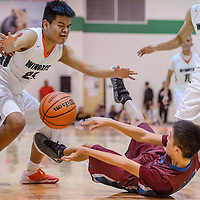 Shiprock Chieftain Landon Henderson (34) passes the ball away from Wingate Bear Leon Alonzo (21) as he tumbles to the floor Thursday at Wingate High School.