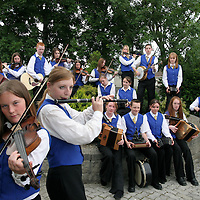 25.07.05.<br /> The Inis Og 15-18 Band who were group winners in the Munster Fleadh, pictured to the front are Eimear Howley, 16 and Niamh Phelan, 18. Picture: Alan Place/Press 22.