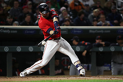 September 29, 2017 - Minneapolis, MN, USA - The Minnesota Twins' Brian Dozier doubles in the first inning against the Detroit Tigers on Friday, Sept. 29, 2017, at Target Field in Minneapolis. (Credit Image: © Anthony Souffle/TNS via ZUMA Wire)