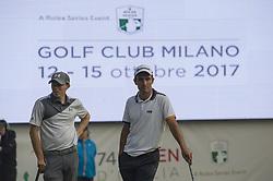 October 13, 2017 - Monza, Italy - Edoardo Molinari of Italy  and Matthew Fitzpatrick of England on Day One of the Italian Open at Golf Club Milano  (Credit Image: © Gaetano Piazzolla/Pacific Press via ZUMA Wire)