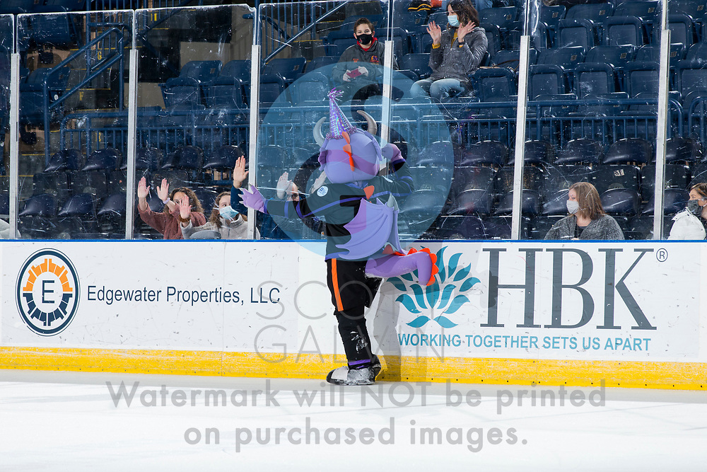 The Youngstown Phantoms defeat the Chicago Steel 5-2 at the Covelli Centre on January 23, 2021.<br /> <br /> Sparky, mascot