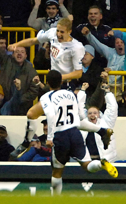 Photo: Ed Godden.<br /> Tottenham Hotspur v Chelsea. The Barclays Premiership. 05/11/2006. Spurs' Michael Dawson leaps in the air to celebrate his equalising goal.