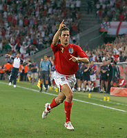 Photo: Glyn Thomas.<br />Sweden v England. FIFA World Cup 2006. 20/06/2006.<br /> England's Joe Cole celebrates after scoring his team's opening goal.