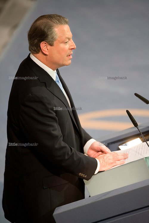 Al Gore holding his speach after reciving the Nobel Peace price in Oslo city hall. 10.12.07. Photo: Christopher Olssøn.