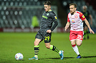 Forest Green Rovers Jack Aitchison(29), on loan from Celtic on the ball during the EFL Sky Bet League 2 match between Stevenage and Forest Green Rovers at the Lamex Stadium, Stevenage, England on 26 December 2019.