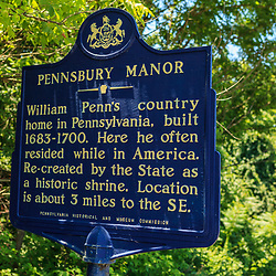 Morrisville, PA, USA - June 23, 2012: The Pennsbury Manor Historic Marker near William Penn's country home.