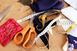 Aug. 6, 2014 - Sewing accessories; scissors, measuring tape, pins, needles, fabric (Credit Image: © Image Source/Image Source/ZUMAPRESS.com)