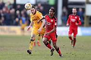 Lewis Young of Crawley Town in action. EFL Skybet football league two match, Newport county v Crawley Town at Rodney Parade in Newport, South Wales on Saturday 1st April 2017.<br /> pic by Andrew Orchard, Andrew Orchard sports photography.
