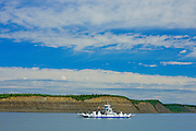 Ferry Crossing the Arctic Red River (Mackenzie River). About 130 Kms south of Inuvik<br /> Dempster Highway<br /> Northwest Territories<br /> Canada