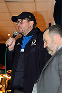 Author John Green speaking at AFC Wimbledon during the EFL Sky Bet League 1 match between AFC Wimbledon and Oxford United at the Cherry Red Records Stadium, Kingston, England on 10 March 2018. Picture by Matthew Redman.