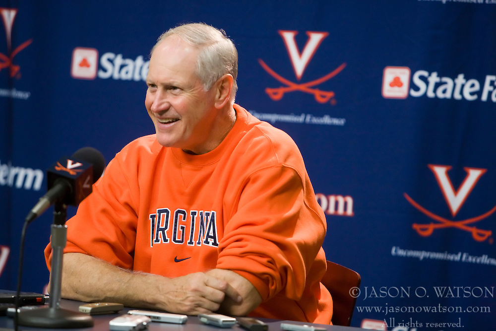 Virginia head coach Al Groh shares a laugh with reporters after his football team defeated UMD.  The Virginia Cavaliers defeated the Maryland Terrapins 31-0 in NCAA football at Scott Stadium on the Grounds of the University of Virginia in Charlottesville, VA on October 4, 2008.