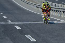 October 14, 2017 - Izmir, Turkey - Two riders from Wilier-Selle Italia Team in the lead during the fifth stage - the 166 km Vestel Selcuk to Izmir, the second last stage of the 53rd Presidential Cycling Tour of Turkey 2017..On Saturday, 14 October 2017, in Izmir, Turkey. (Credit Image: © Artur Widak/NurPhoto via ZUMA Press)