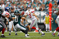 New York Giants quarterback Eli Manning #10 in the pocket during the NFL game between the New York Giants and the Philadelphia Eagles. The Giants won 29-16 at Lincoln Financial Field in Philadelphia, Pennsylvania on Sunday, September 25th 2011. (Photo By Brian Garfinkel)