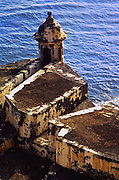 Castillo de San Felipe del Morro,  El Morro Castle tower(built 1539), San Juan Puerto Rico. Fortress built to protect San Juan from enemies attacking by sea.