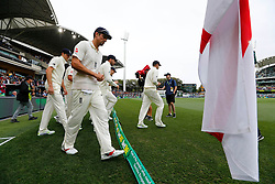 England's Alastair Cook walks onto the field during day one of the Ashes Test match at the Adelaide Oval, Adelaide.