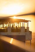 Corniche restaurant in sunset sunlight, Casablanca, Morocco