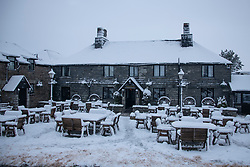 © Licensed to London News Pictures Ltd.  01/02/2019. General view of the Jamaica Inn where stranded motorist were sheltered.<br /> Rescue crews help stranded motorists on the A30 on Bodmin Moor, who were stranded last night by heavy snowfall. Most motorists were put the up on camp beds in the nearby Jamaica Inn. Photo credit: Mark Hemsworth/LNP