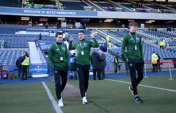 Celtic's Lewis Morgan (left), Ryan Christie and Jack Hendry (R) arrive for the match against Heart of Midlothian in the Betfred Cup semi final match at BT Murrayfield Stadium, Edinburgh.