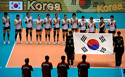 07-11-2010 VOLLEYBAL: WORLD CHAMPIONSHIP: PERU - KOREA: TOKYO<br /> Korea beat Peru with 3-1 / Line up Korea<br /> ©2010-WWW.FOTOHOOGENDOORN.NL