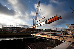 F10b Bridge. View of the F10b bridge being lifted into position on the Olympic Park. Picture taken on 09 Nov 09 by Dave Poultney.