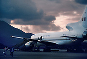 The RAF jet passenger plane arriving 27th May 1997, on Ascension, a small area of approximately 88 km² isolated volcanic island in the equatorial waters of the South Atlantic Ocean, roughly midway between the horn of South America and Africa. It is governed as part of the British Overseas Territory of Saint Helena, Ascension and Tristan da Cunha. Organised settlement of Ascension Island began in 1815, when the British garrisoned it as a precaution after imprisoning Napoleon I on Saint Helena. In January 2016 the UK Government announced that an area around Ascension Island was to become a huge marine reserve, to protect its varied and unique ecosystem, including some of the largest marlin in the world, large populations of green turtle, and the islands own species of frigate bird. With an area of 234,291 square kilometres 90,460 sq mi, slightly more than half of the reserve will be closed to fishing.