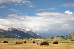 Walton Ranch harvest, Grand Tetons, Thunderstorm, Jackson Hole Wyoming