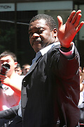Eddie Murray at the Major League Baseball All-Stars and 49 Hall of Famers ride up Sixth Avenue in All Star-Game Red Carpet Parade Presented by Chevy on July 15, 2008