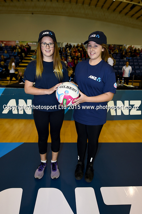 ANZ Future Captains Sarah Barlow(L) and Deanna Bary during the ANZ Championship Netball game between the Mainland Tactix v Queenland Firebirds. Marlborough Lines Stadium 2000, Blenheim, New Zealand. Sunday 24 May 2015. Copyright Photo: Chris Symes / www.photosport.co.nz