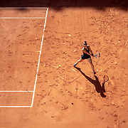 PARIS, FRANCE June 10. Maria Sakkari of Greece in action against Barbora Krejcikova of the Czech Republic on Court Philippe-Chatrier during the semi finals of the Women's singles competition at the 2021 French Open Tennis Tournament at Roland Garros on June 10th 2021 in Paris, France. (Photo by Tim Clayton/Corbis via Getty Images)
