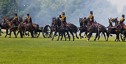 Hyde Park, London, June 2nd 2017. The King's Horse Royal Troop Artillery fire a 41-gun salute using WWI 13 pound field artillery guns, in honour of Queen Elizabeth's coronation at Westminster Abbey on June 2nd 1953.