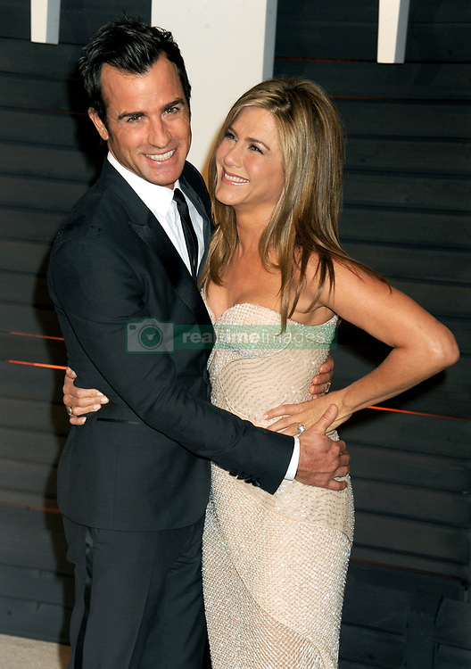 """File photo - Justin Theroux (L) and Jennifer Aniston attend the 2015 Vanity Fair Oscar Party in Beverly Hills, California on Sunday February 22, 2015. Hollywood couple Jennifer Aniston and Justin Theroux are separating after two years of marriage. The pair, who reportedly met on the set of comedy film Wanderlust, said the mutual decision was """"lovingly made"""" at the end of last year. Photo by Dennis Van Tine/ABACAPRESS.COM"""