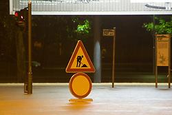 Sign in a water on Trzaska street after heavy rain on September 18, 2010, in Ljubljana, Slovenia. (Photo by Matic Klansek Velej / Sportida)