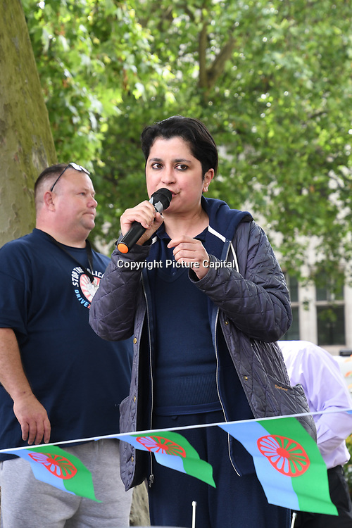 Speaker Shami Chakrabartip at the protests against UK government racism, Stop the police bill of Gypsy Roma & Traveller in Parliament square, 7tth July 2021, London, UK.