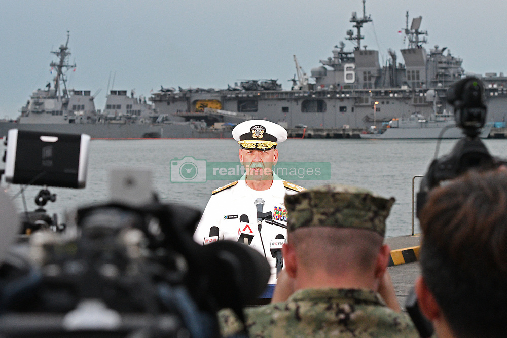 Aug 22, 2017 - Singapore - US Pacific Fleet commander Admiral SCOTT SWIFT speaks during a press conference at Changi Naval Base about the collision of the destroyer USS John S. McCain with an oil tanker. The US Navy ship collided with the Liberian-registered merchant ship Alnic MC at sea east of Singapore on Aug 21. 4 injured US sailors are hospitalised in Singapore General Hospital. (Credit Image: © Then Chih Wey/Xinhua via ZUMA Wire)