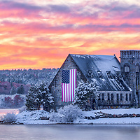 New England fall foliage and winter snow foliage photography from the Old Stone Church in West Boylston, Massachusetts.