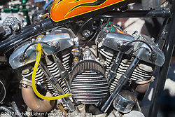 Detail of a custom Harley-Davidson Shovelhead at the Choppertime Old School Bike Show held at Willie's Tropical Tattoo during Daytona Bike Week. Ormond Beach, FL. USA. Thursday March 16, 2017. Photography ©2017 Michael Lichter.