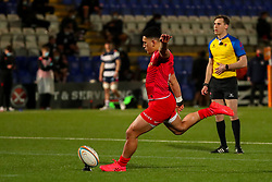 Manu Vunipola of Saracens adds the extra points with a conversion  - Mandatory by-line: Nick Browning/JMP - 26/02/2021 - RUGBY - Butts Park Arena - Coventry, England - Coventry Rugby v Saracens - Friendly
