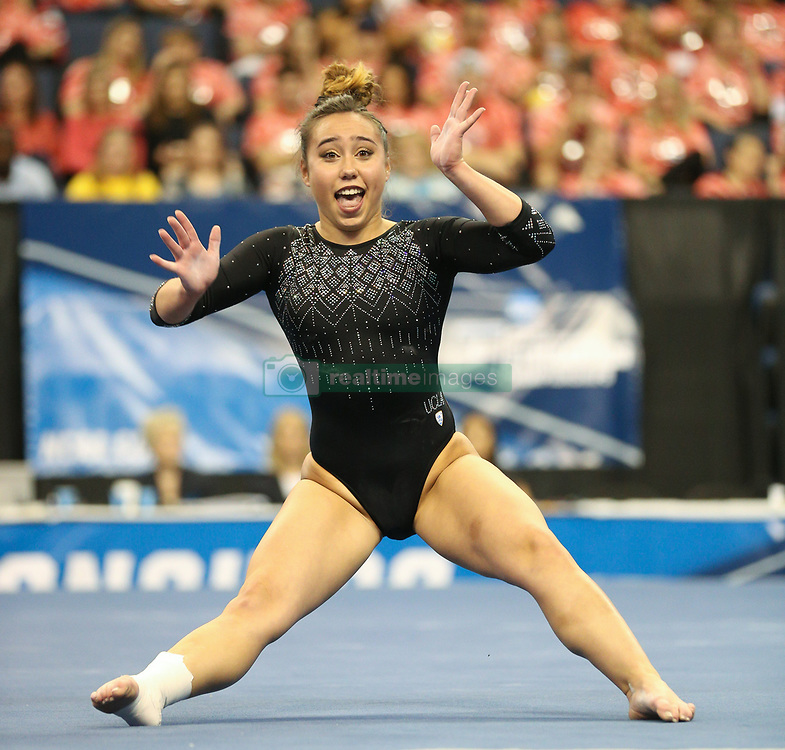 April 15, 2017: UCLA's Katelyn Ohashi performs on the floor during the Super Six Finals of the 2017 NCAA Women's National Collegiate Gymnastics Championships at the Chaifetz Arena in St. Louis, MO. Kyle Okita/CSM(Credit Image: © Kyle Okita/Cal Sport Media/CSM via ZUMA Wire)