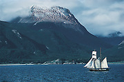 New Zealand square rigger Tradewind, leaves Beagle channel for Antarctica, Chile