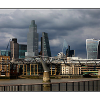 City of London skyline from Southbank;<br /> London in Lockdown July 2020;<br /> London, UK;<br /> 14th July 2020.<br /> <br /> © Pete Jones<br /> pete@pjproductions.co.uk